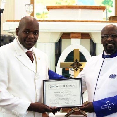Minister Phillips receives his License to Preach. Nov. 6, 2016